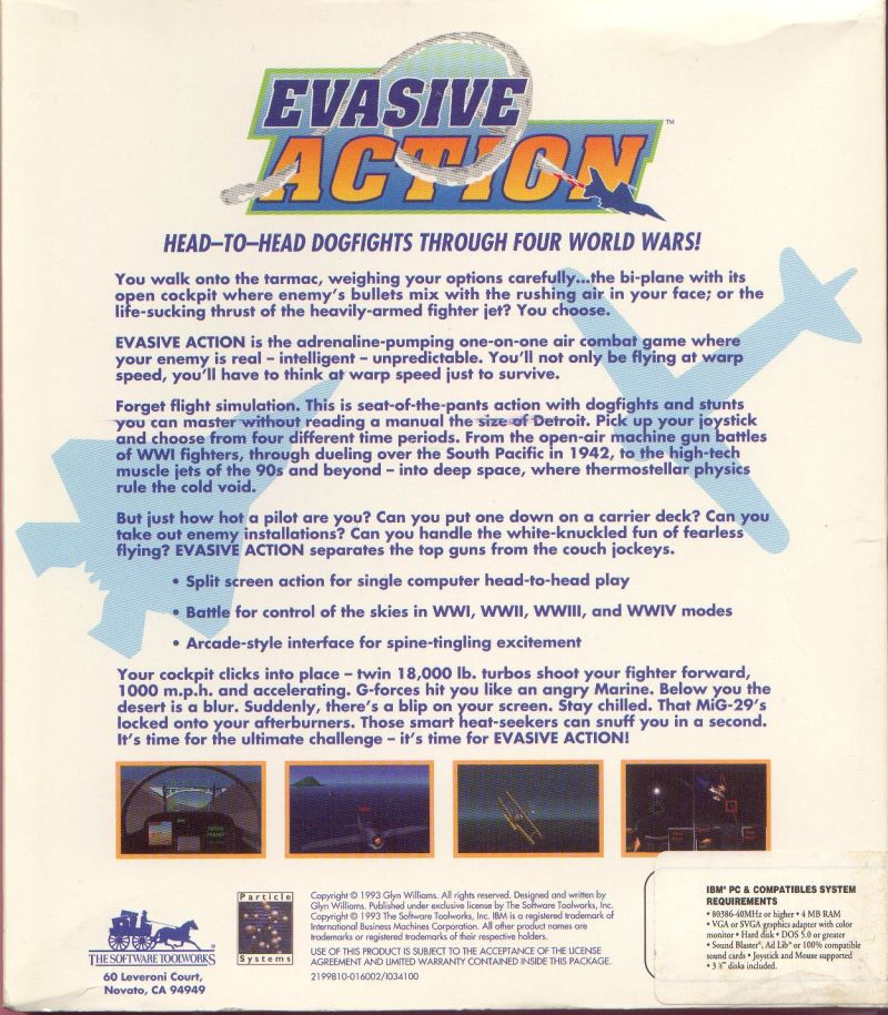 Evasive Action DOS Back Cover