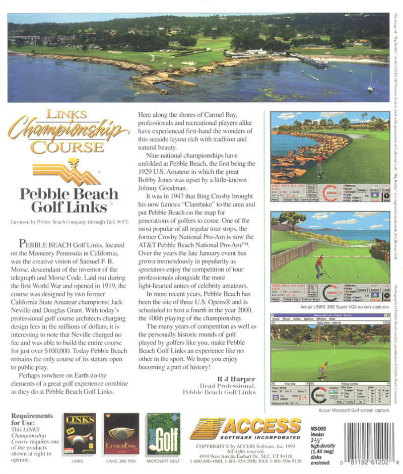 Links: Championship Course - Pebble Beach DOS Back Cover