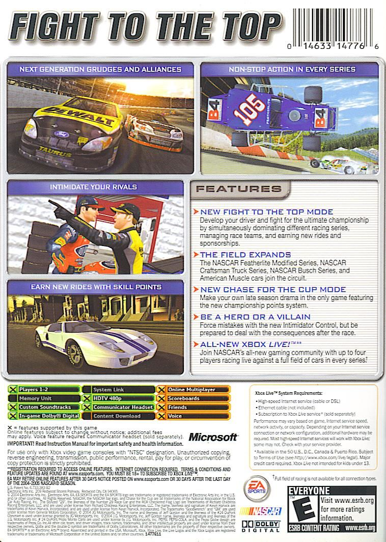 NASCAR 2005: Chase for the Cup Xbox Back Cover