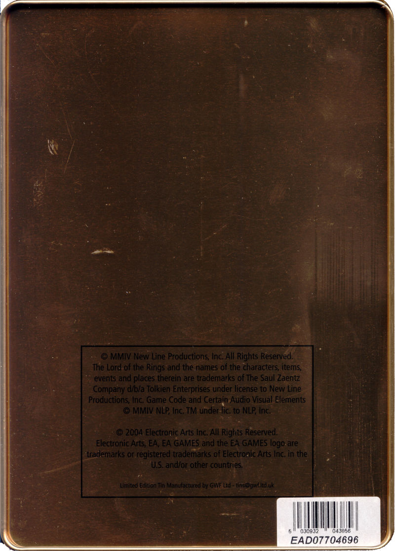 The Lord of the Rings: The Battle for Middle-earth (Limited Edition) Windows Back Cover