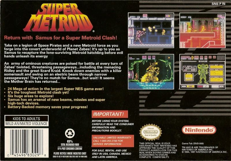 Super Metroid (1994) SNES box cover art - MobyGames