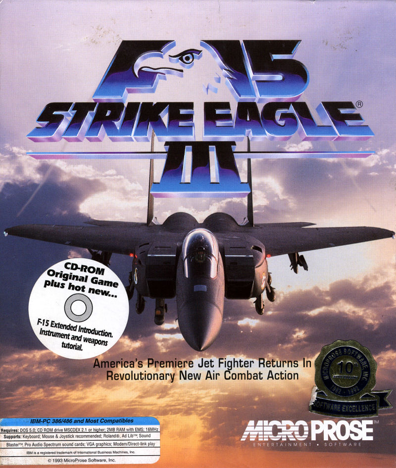 F-15 Strike Eagle III DOS Front Cover