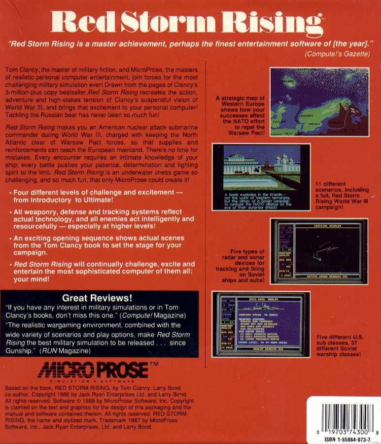 Red Storm Rising Atari ST Back Cover