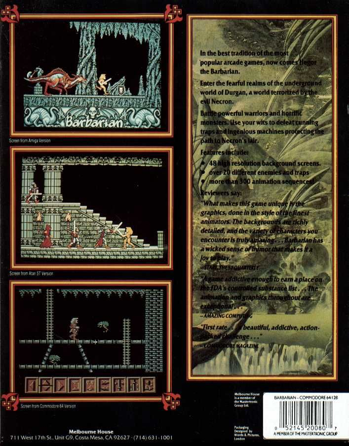 Barbarian Commodore 64 Back Cover