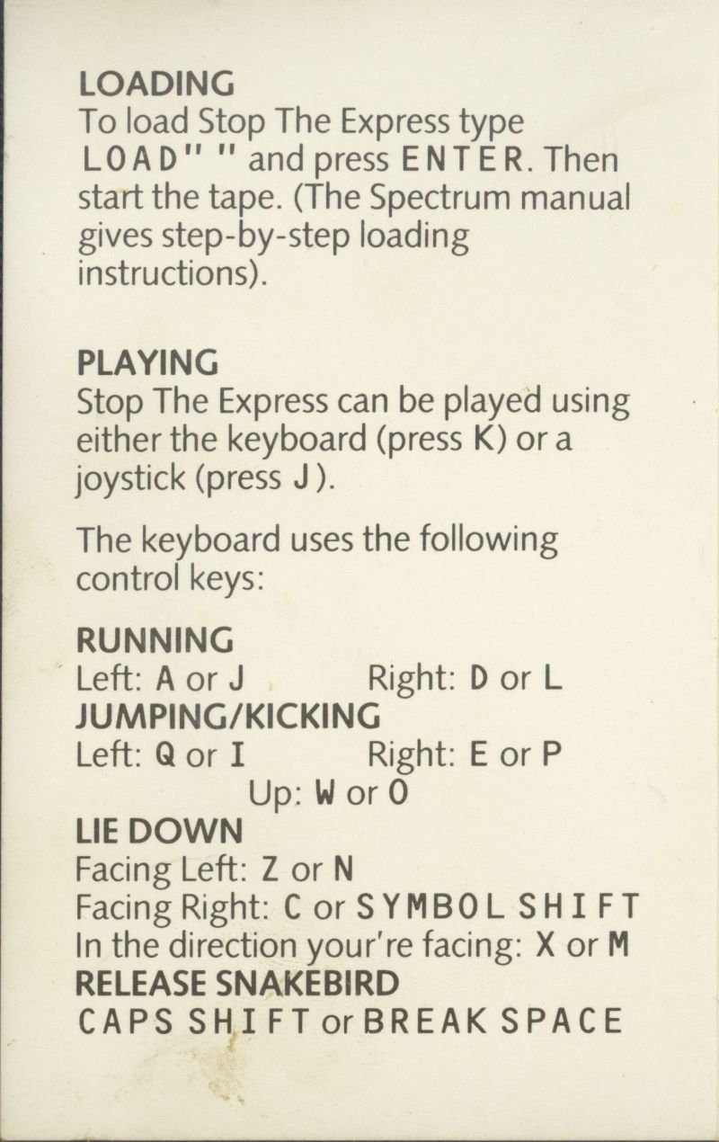 Stop the Express ZX Spectrum Inside Cover
