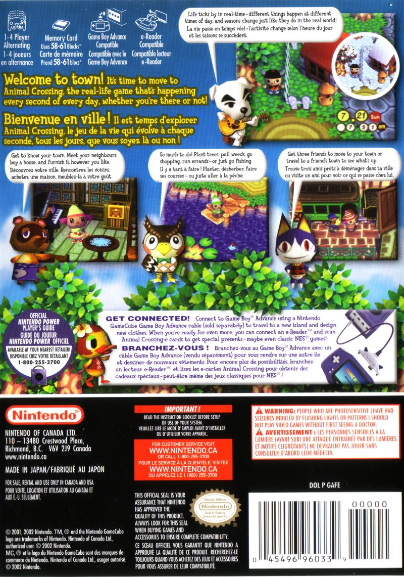 Animal Crossing GameCube Back Cover