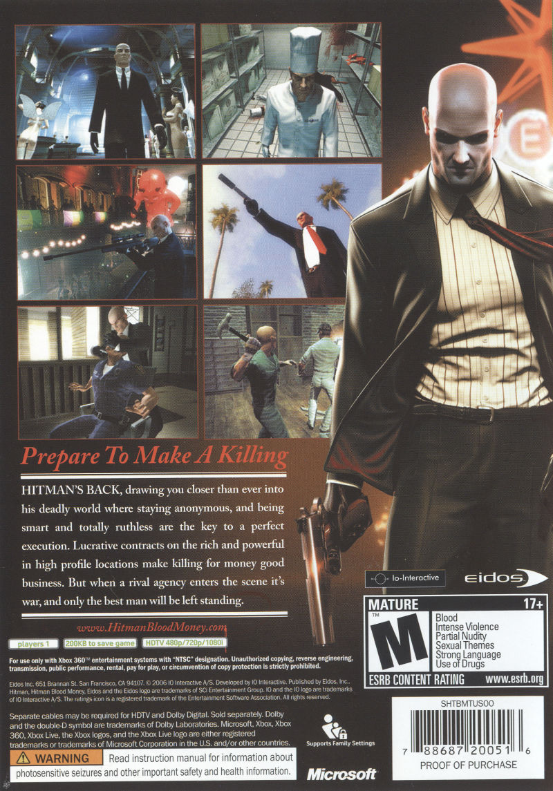 Hitman: Blood Money Xbox 360 Back Cover