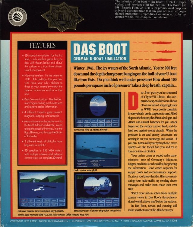 Das Boot: German U-Boat Simulation DOS Back Cover