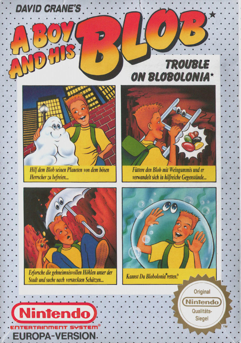 David Crane's A Boy and His Blob: Trouble on Blobolonia NES Front Cover