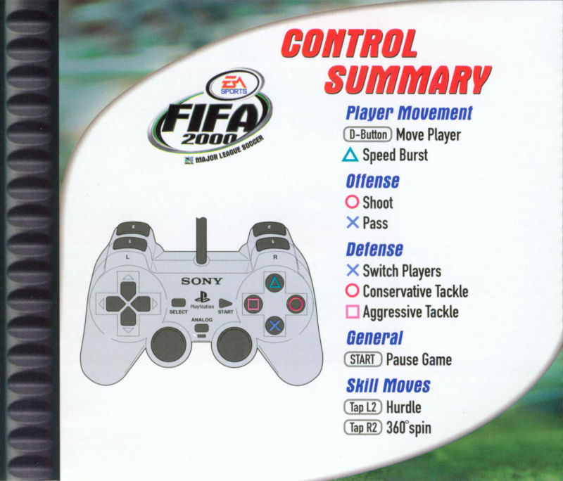 FIFA 2000: Major League Soccer PlayStation Inside Cover