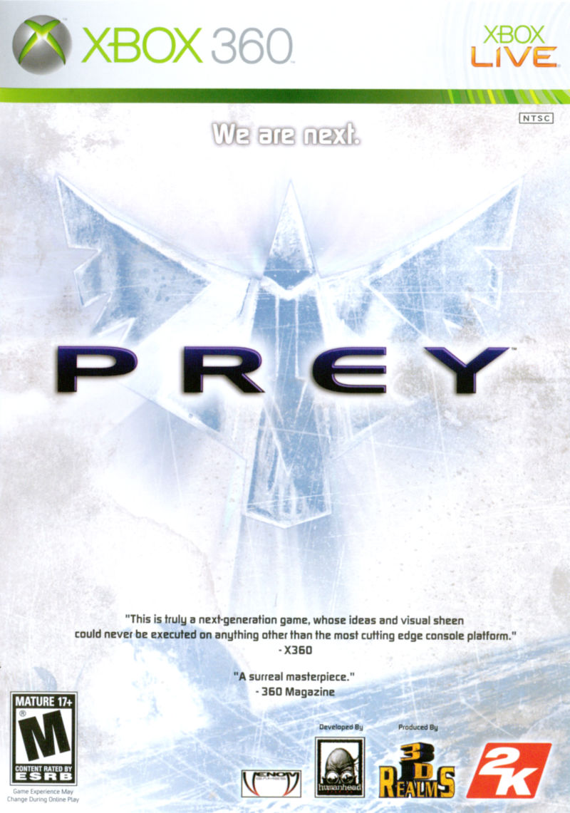 Prey (2006) Xbox 360 box cover art - MobyGames Xbox 360 Game Cover Size