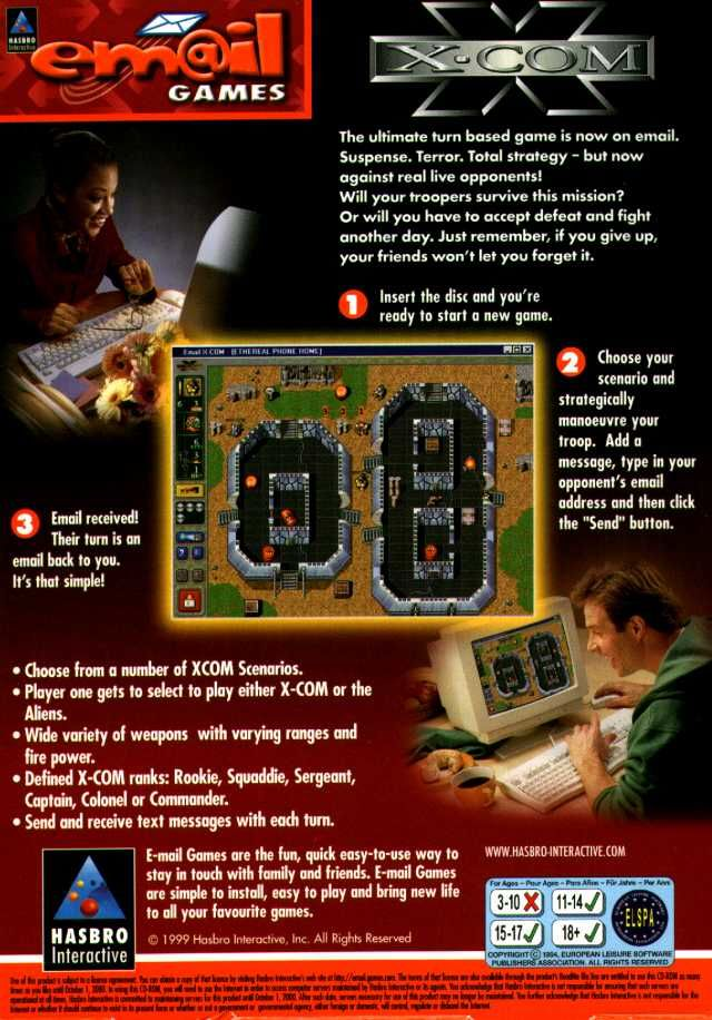 Em@il Games: X-COM Windows Back Cover