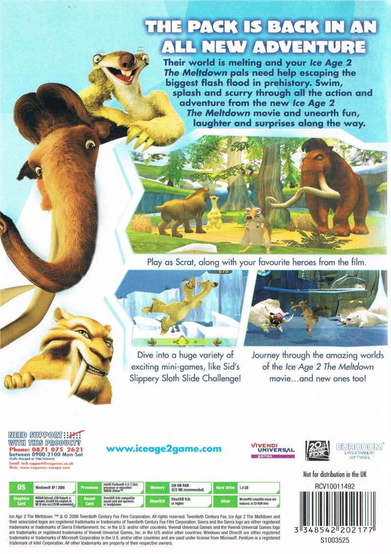 Ice Age 2: The Meltdown Windows Back Cover