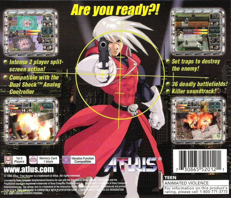 Trap Gunner PlayStation Back Cover