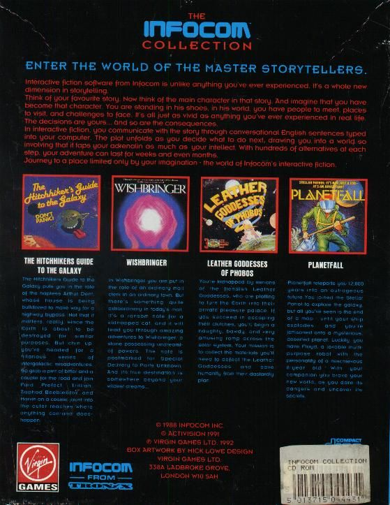 The Infocom Collection DOS Back Cover