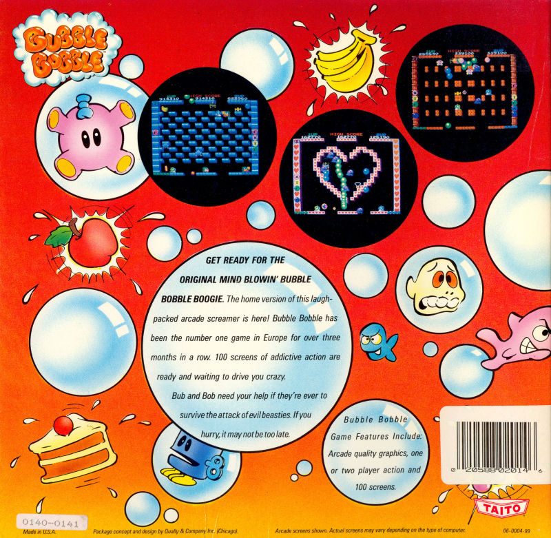 Bubble Bobble Amiga Back Cover