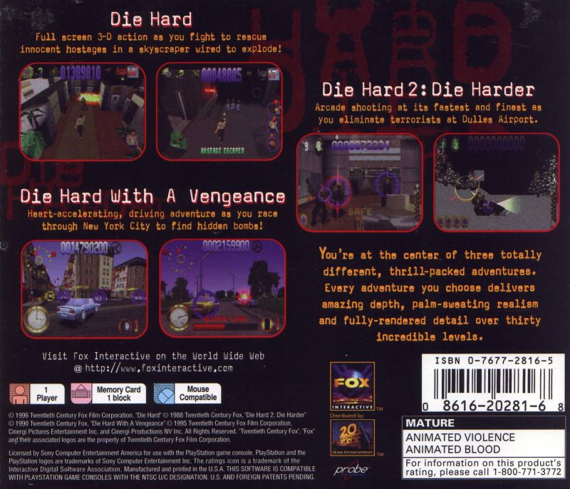 Die Hard Trilogy PlayStation Back Cover