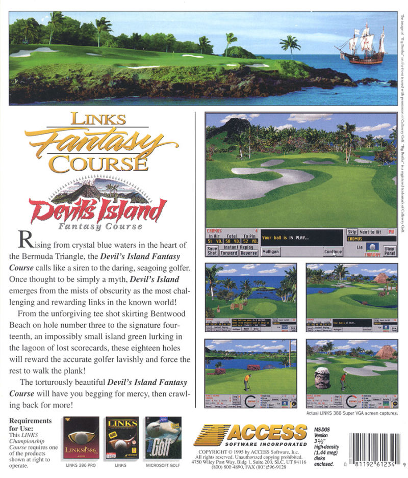 Links: Fantasy Course - Devils Island DOS Back Cover