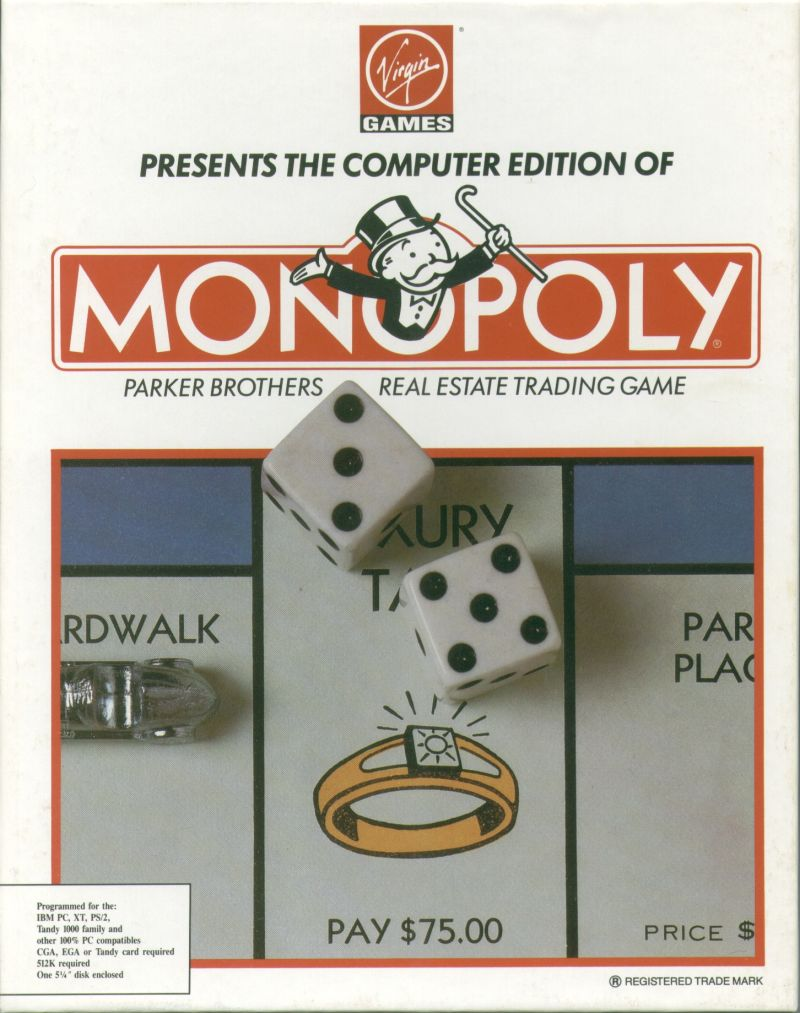 Monopoly DOS Front Cover 1991 Virgin release