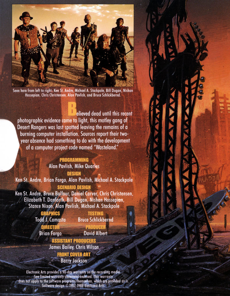 Wasteland DOS Inside Cover