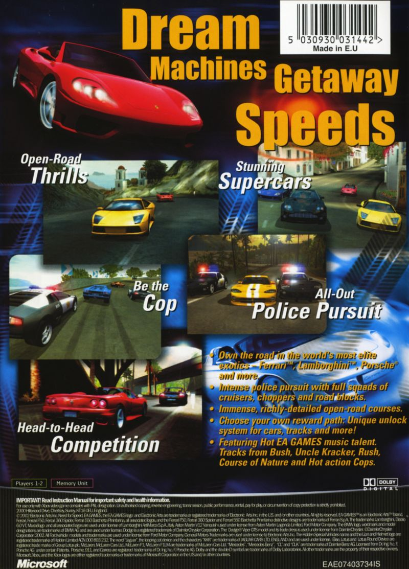 Need For Speed Hot Pursuit 2 2002 Xbox Box Cover Art Mobygames