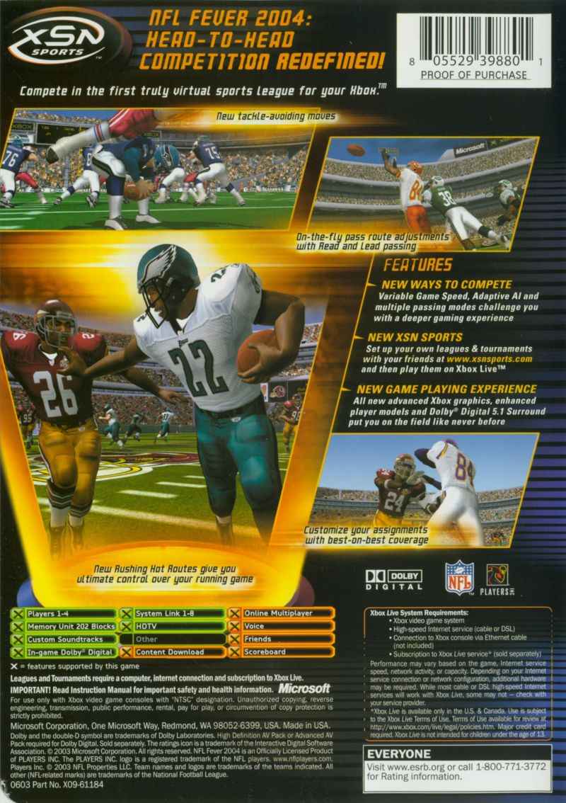 NFL Fever 2004 Xbox Back Cover