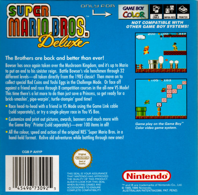 Super Mario Bros. Deluxe Game Boy Color Back Cover