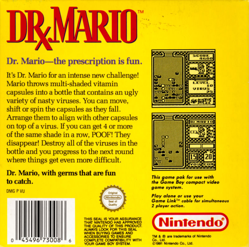 Dr. Mario Game Boy Back Cover