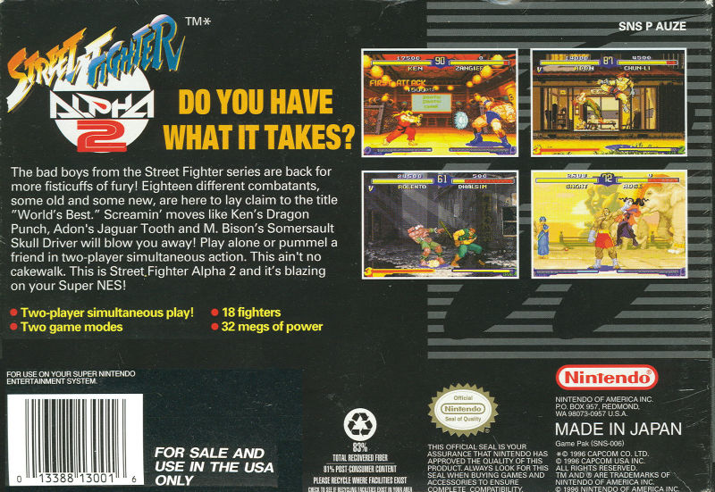 Street Fighter Alpha 2 SNES Back Cover