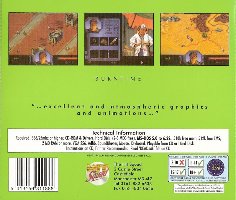 Burntime DOS Back Cover