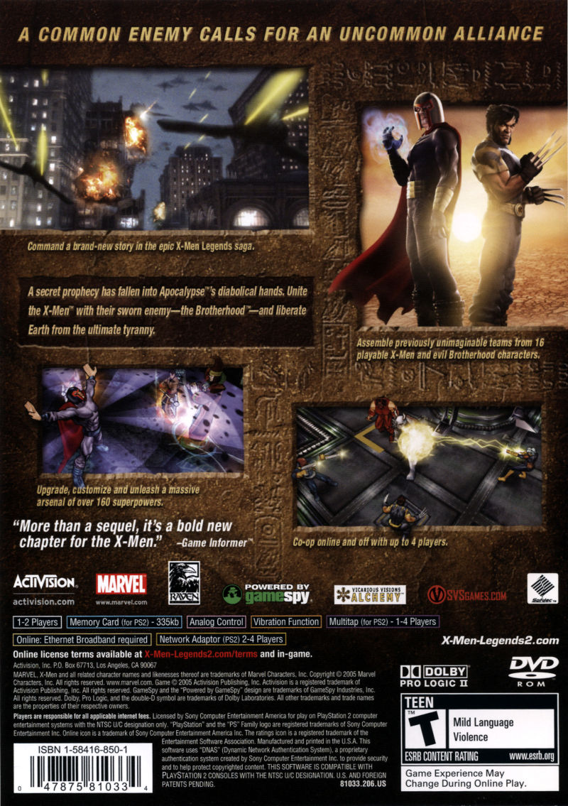 X-Men: Legends II - Rise of Apocalypse PlayStation 2 Back Cover