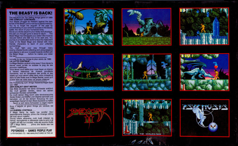 Shadow of the Beast II Amiga Back Cover
