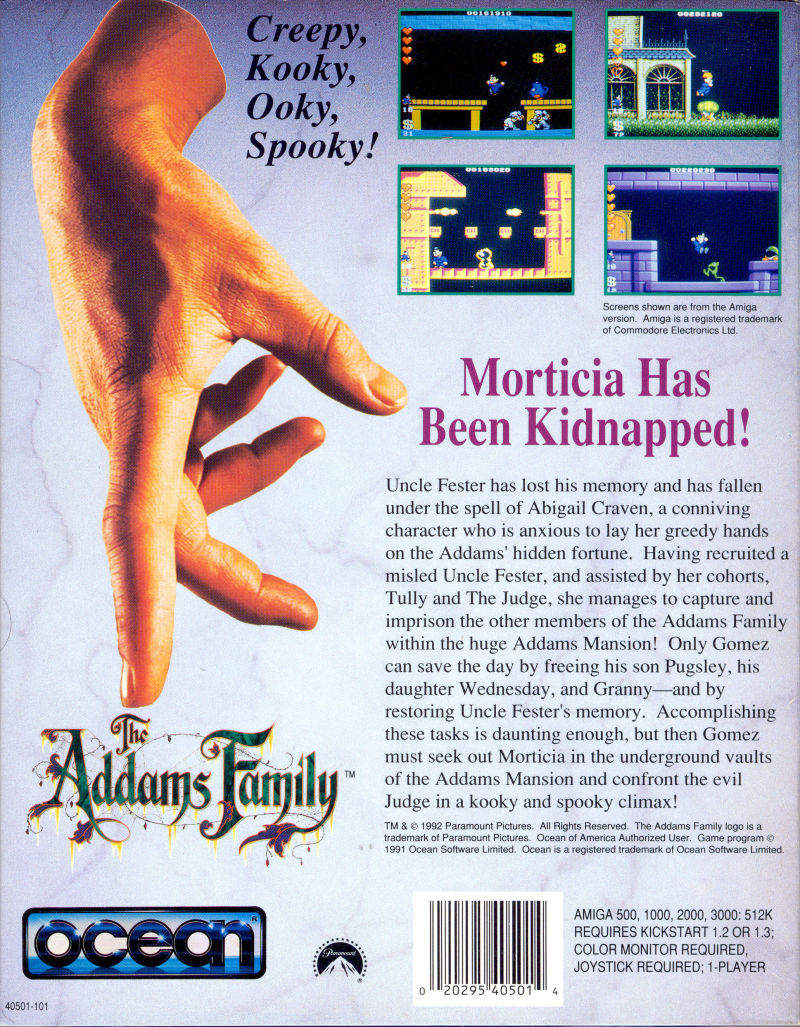The Addams Family Amiga Back Cover