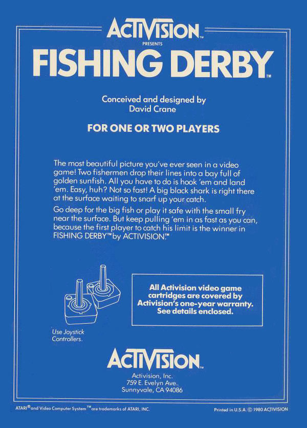 Fishing Derby Atari 2600 Back Cover
