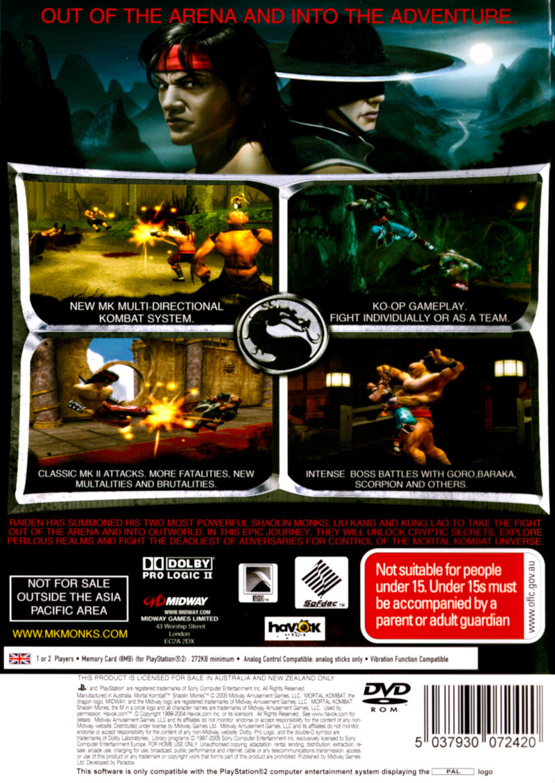Mortal Kombat: Shaolin Monks PlayStation 2 Back Cover
