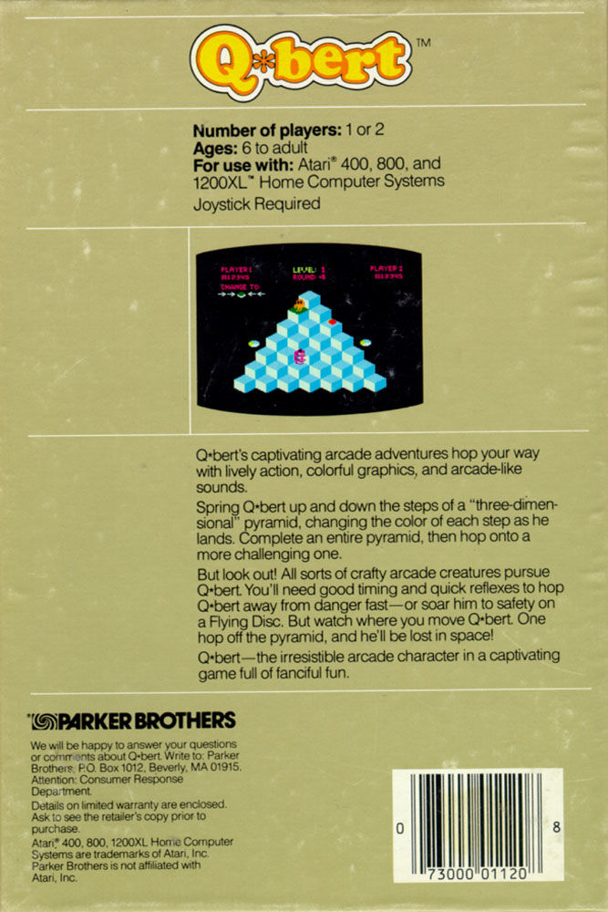 Q*bert Atari 8-bit Back Cover