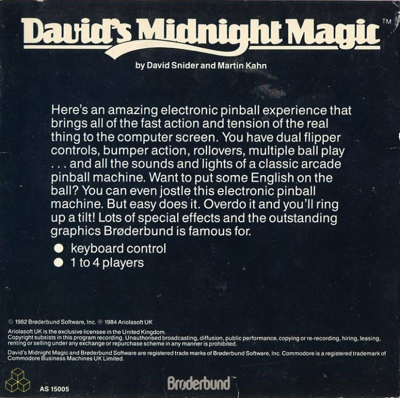 David's Midnight Magic Commodore 64 Back Cover