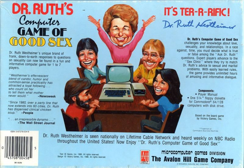 Dr. Ruth's Computer Game of Good Sex Commodore 64 Back Cover