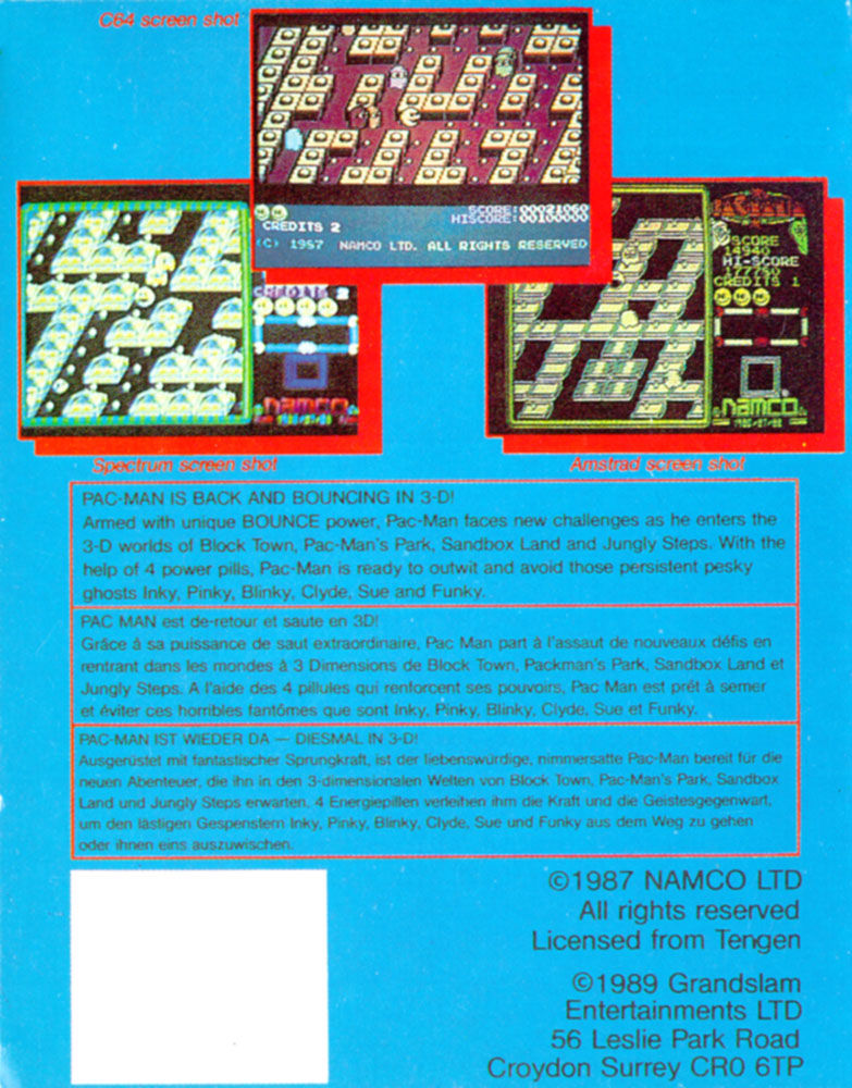 Pac-Mania Amiga Back Cover