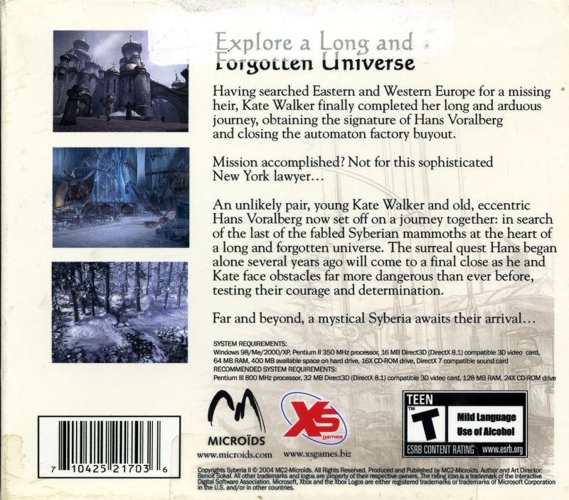 Syberia II Windows Back Cover