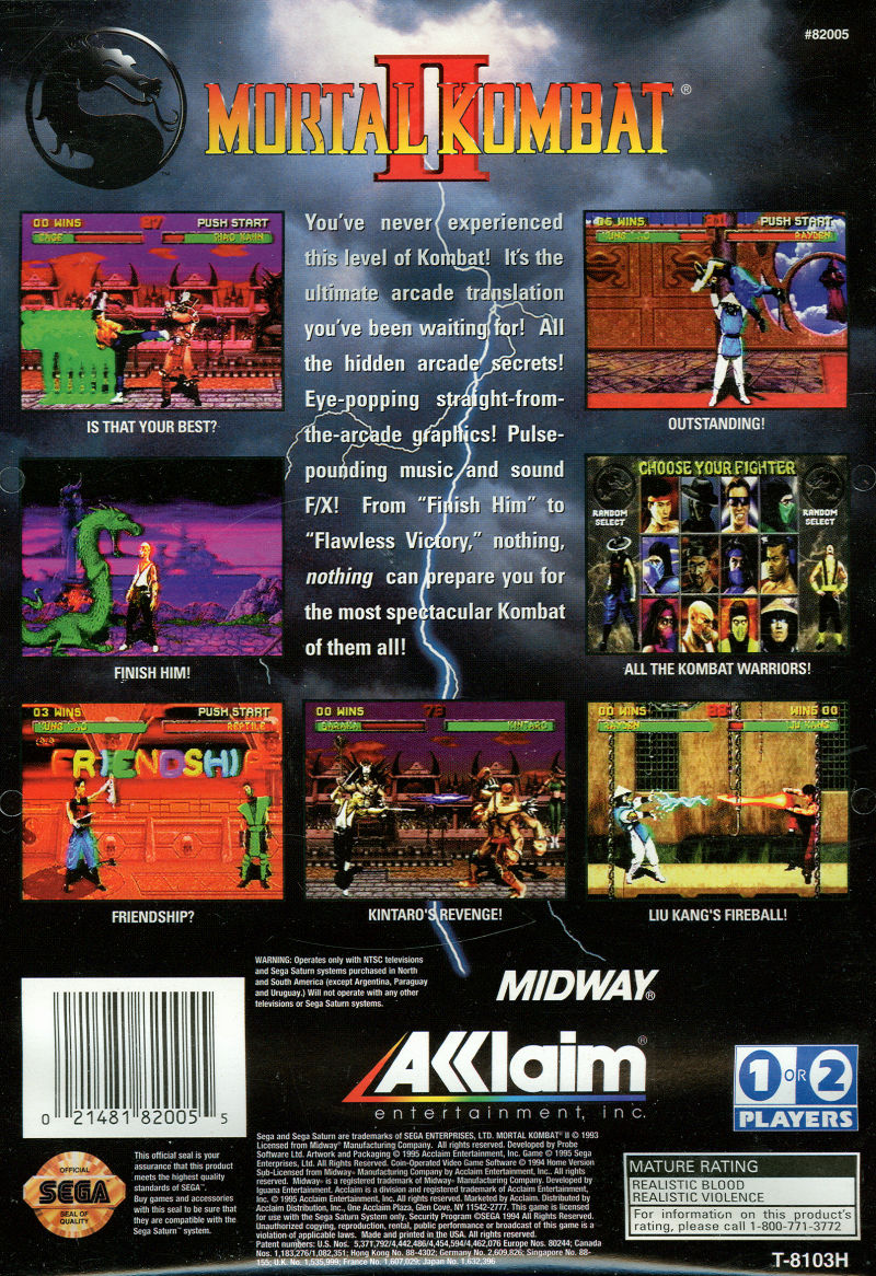 Mortal Kombat II SEGA Saturn Back Cover