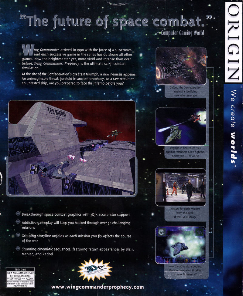 Wing Commander: Prophecy Windows Back Cover