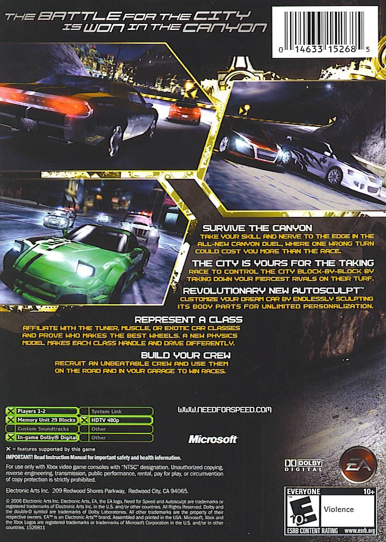 Need for Speed: Carbon Xbox Back Cover