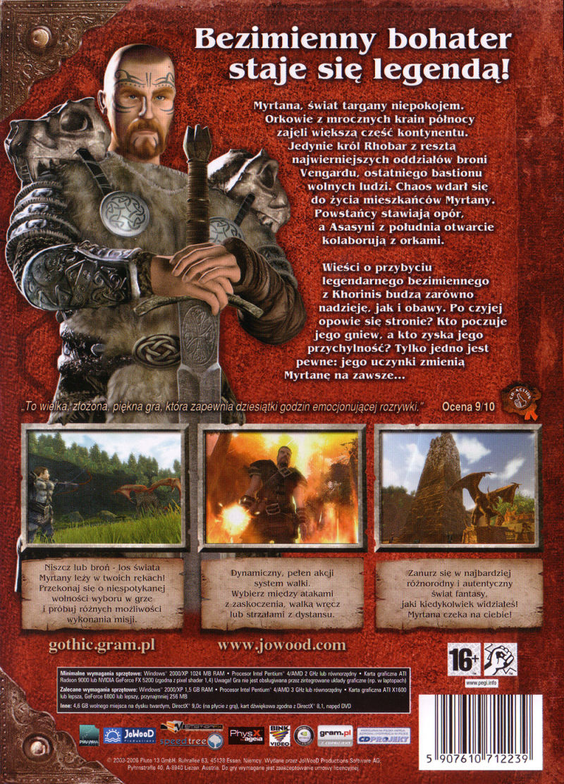 Gothic 3 Windows Other Keep Case - Back Cover