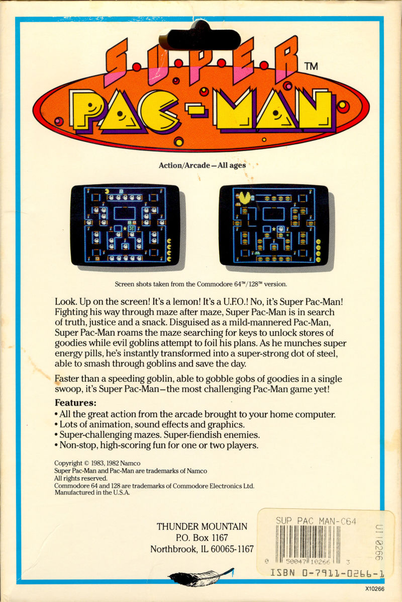 Super Pac-Man Commodore 64 Back Cover