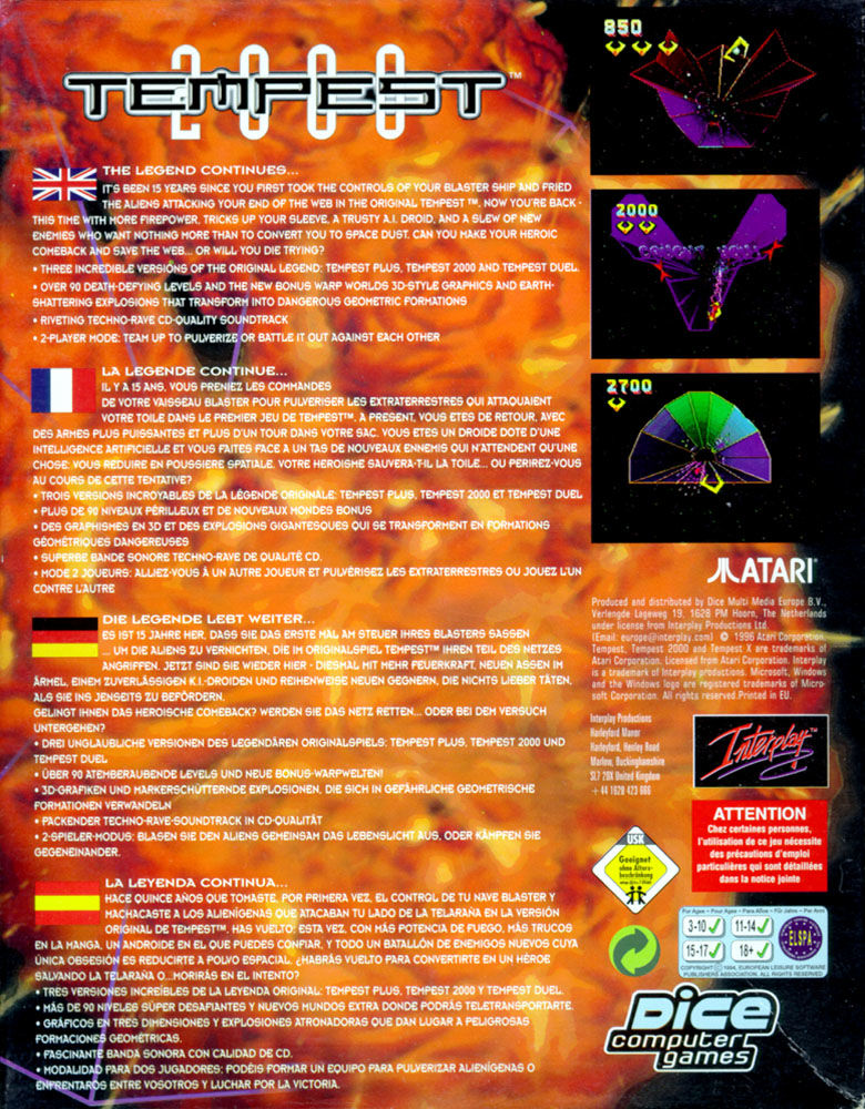 Tempest 2000 DOS Back Cover