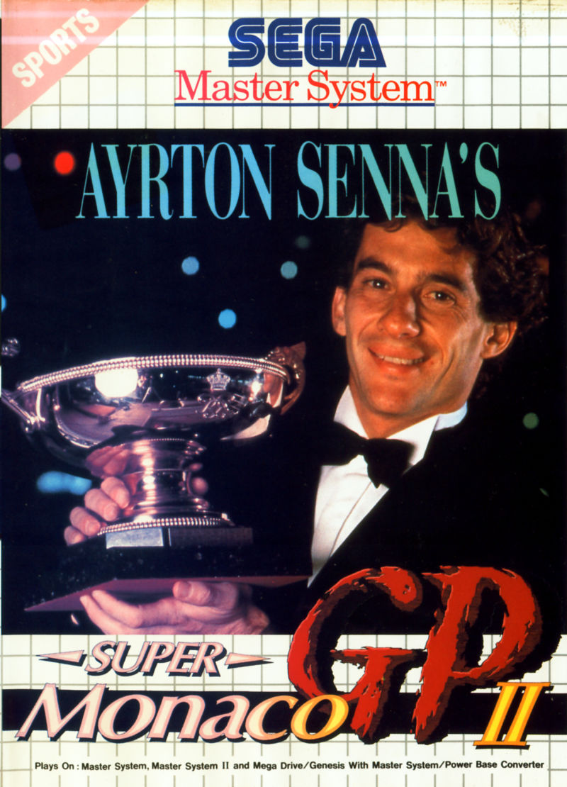 Ayrton Senna's Super Monaco GP II SEGA Master System Front Cover Alternate front cover without helmet shot