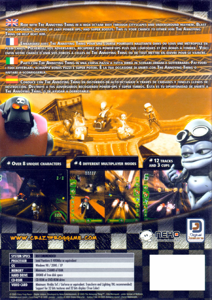 Crazy Frog Racer Windows Back Cover