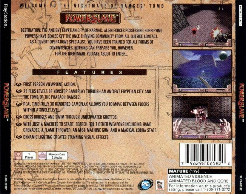 Powerslave PlayStation Back Cover