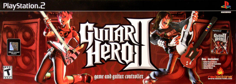Guitar Hero II PlayStation 2 Front Cover Box w/ Guitar Controller & Game